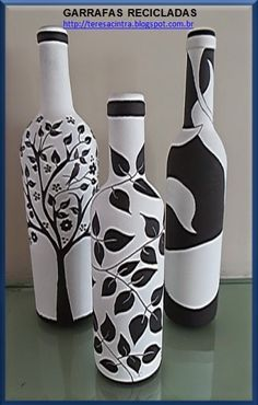 Discover thousands of images about Beautiful DIY Spray Paint Ideas Painted Glass Bottles, Glass Bottle Crafts, Wine Bottle Art, Diy Bottle, Decorated Bottles, Glass Painting Designs, Diy Spray Paint, Bottle Painting, Spray Painting