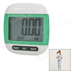 "Brand: AOEOM; Model: AP-J9667; Color: Green; Material: ABS; Quantity: 1; Display Screen: 1.5"" LCD; Functions: Step count, distance count and calorie count; Power: 1 x L1131; Features: Wrong steps number correction within 5 steps; Clear display; With detachable waist clip; Packing List: 1 x Sports pedometer1 x English / Chinese user manual; http://j.mp/1lkqMRD"
