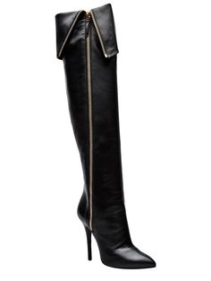 GIUSEPPE ZANOTTI TALL FOLD-OVER ZIP LEATHER BOOTS