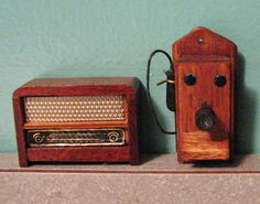 1950s Doll House Wood Radio and Vintage Wood Wall by PeddleCreek, | Great inspiration