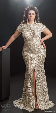 dror kontento 2019 bridal cap sleeve capelet high neckline fully embellished lace fit flare sheath wedding dress slit skirt chapel train mv -- Dror Kontento 2019 Plus Size Wedding Dresses Bride Reception Dresses, Plus Size Wedding Gowns, Princess Wedding Dresses, Dream Wedding Dresses, Bridal Dresses, Snow White Wedding Dress, Snow Wedding, Ball Dresses, Dresses With Sleeves