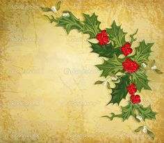 Vector vintage christmas background with sprig of European holly ...