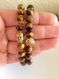 Eternal Knot & Buddha Bracelet Set - 2 Bracelets Tiger Eye on Etsy, $48.00