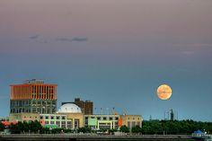 Moon rise over Camden, NJ....Photo taken from the Penn's Landing waterfront area in Philadelphia, PA across the Delaware River. Beautiful scene!!
