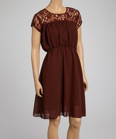 Love this Brown Lace-Panel Dress on #zulily! #zulilyfinds