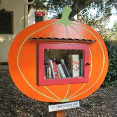 Little Free Library in a pumpkin patch