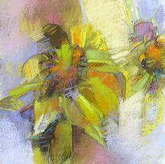 Green Coneflowers, 14x14 pastel on paper by Debora L. Stewart