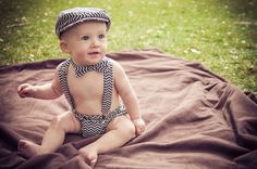 Items similar to Cake Smash Outfit - baby suspenders - baby boy neck tie - boy diaper cover - Baby bow photo prop - newborn prop - seersucker on Etsy