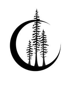 pine tree moon tattoo - Google Search