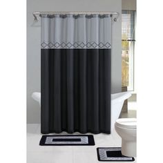 home dynamix designer bath shower curtain and bath rug set db15d456 diamond gray black 15 piece bath set