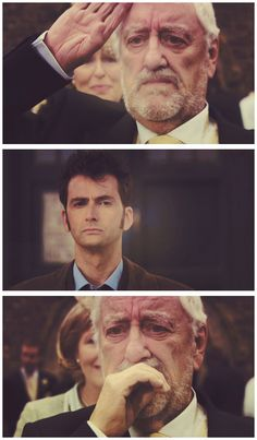 This is where I REALLY lost it. When Wilfred salutes and maybe before the Doctor would have done it back or at least smiled but he doesn't he just leaves and it's like that one last shred of hope Wilfred has that maybe, just MAYBE 10 won't die withers away and he knows for sure that it's not going to be okay and he caused it and there's nothing he can do about it except watch the Doctor leave.