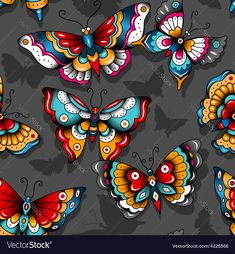Pattern tattoo butterflies vector image on VectorStock Traditional Diamond Tattoo, Traditional Tattoo, Traditional Art, Mini Tattoos, Body Art Tattoos, Tatoos, Butterfly Wallpaper, Butterfly Art, Door Hanging Decorations