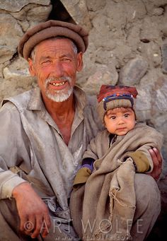 "Grandfather and child, Askole village, Baltoro region, Pakistan  ...a region that became well known in english speaking people & others due to the wonderful story by Geg Mortenson, ""3 Cups of Tea"""