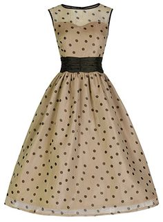 Lindy Bop 'Cindy' Vintage 50's Classy Yet Sassy Polka Dot Party Dress (4XL, Mocha)