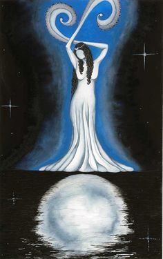 ☆ Luna »  A Peaceful depiction of the Roman Goddess of the Moon, Luna -who is often interchangeable with the Greek goddess Selene-She is intimately connected to women and their cycles. She is faceless so that each individual can imagine the features that they need to see in order to have a personal connection with her .:¦:. Artist Megan Welti ☆