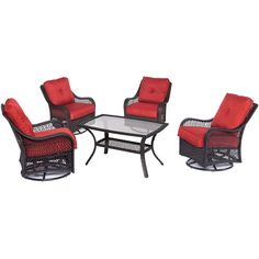Hanover Orleans 5-Piece Wicker Patio Conversation Set with Autumn Berry Cushions