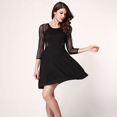 Sleeve Crew Neck Hollow Lace Sexy Dress