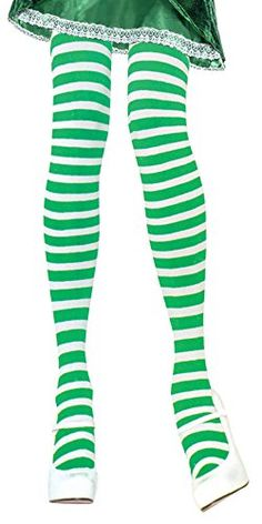 Green and White Striped Tights Leprechaun Tights Elf Tights St Patricks Costume
