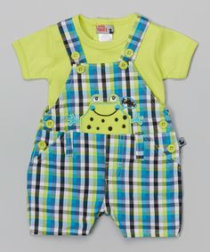 Look at this Duck Duck Goose Lime Frog Shortalls & Tee - Infant on #zulily today!