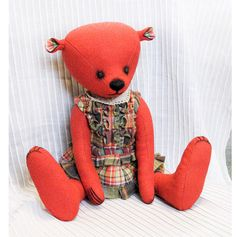 Red teddy bear by PensiveTeddyOfStyle on Etsy