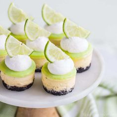 Lime Mini Cheesecakes with Chocolate Crust Finish out your fiesta with a dessert that complements all those Mexican flavors! These Lime Mini Cheesecakes with Chocolate Cookie Crust are cute as can be, and perfect for your party! So, someho… Key Lime Desserts, Mini Desserts, Mini Cheesecake Recipes, Lime Cheesecake, Just Desserts, Delicious Desserts, Easter Desserts, Strawberry Cheesecake, Cheesecake Cupcakes