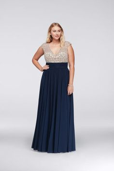 Jeweled Bodice Plus-Size Dress With Cap Sleeves, $300, David's Bridal