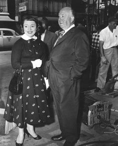 """""""Vertigo"""" Alfred Hitchcock and daughter Patricia 1958 (must see *the GIrl* tipi hedren movie on tv HBO, and also *hitchcock* in theatres & soon ontv..must see....."""