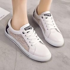ae7bbd13450 White Round Toe Flat Grenadine Patchwork Lace-up Casual Shoes