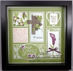 Inspiration only -- Stamping Up products Box Frame Art, Shadow Box Frames, Fall Craft Fairs, Paper Wall Art, Christmas Frames, Candy Cards, Stamping Up Cards, Scrapbooking Layouts, Stampin Up