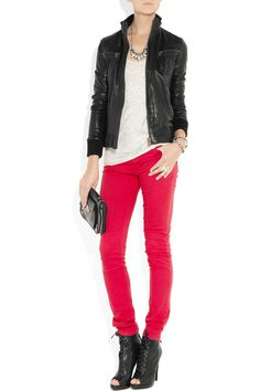 leather jacket + bright colored pants