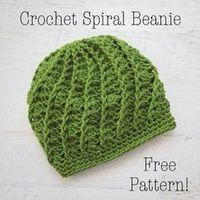 Free Crochet Pattern Spiral Crochet Beanie, Adult Crochet Hat