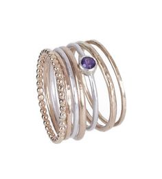 These pretty stack rings come in a mix of materials which gives it a vintage feel. I have used sterling silver and gold-filled with semi precious s. Crown Chakra, Stacking Rings, Amethyst, Stones, Wedding Inspiration, Healing, Engagement Rings, Jewels, Jewellery