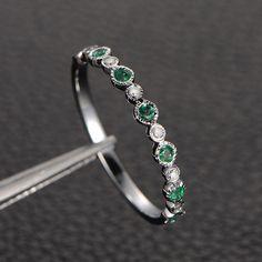 Emerald  Diamond Wedding Band Half Eternity Anniversary Ring 14K White Gold,Bezel Set - Lord of Gem Rings - 1