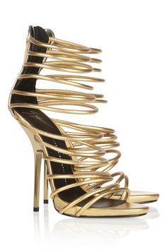 Sandalias doradas con alma de botines botines: Giuseppe Zanotti