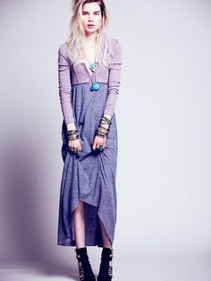 FP Beach Got You Hooked Maxi with high-low hem. Would be easy to make with upcycled skirt and top