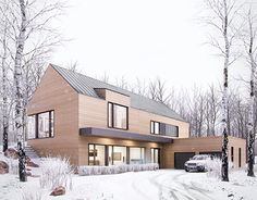 Winter retreat on Behance – Wohnen - architecture house Modern Barn, Modern Farmhouse, Residential Architecture, Modern Architecture, Future House, Casa Loft, Design Exterior, Local Architects, Winter House