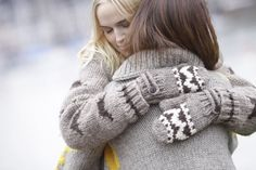 Study says every hug needs 6 seconds to send the love. Nothing better than a cozy hug with granted mittens! And make it last for many more seconds...