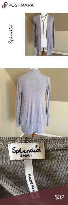 "Splendid Open Cardigan - Anthropologie EUC Anthropologie open Cardigan by Splendid.   Features pockets - great everyday staple.  50% Pima Cotton 50% Modal Length 30"" Splendid Sweaters Cardigans"