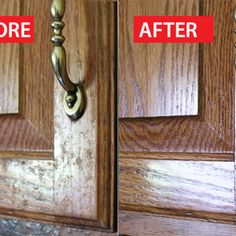How to clean greasy kitchen cabinets & clean away the grime.