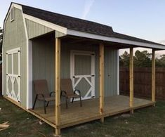Barn with Porch Plans, barn shed plans, small barn plans It doesn't cost that much more to add a neat side porch to your shed. Just sitting out there on a nice summer night would be so cool!