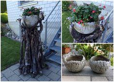 Getrocknete Reben ... Betonschalen, 35cm und Erdbeerpflanzen ... einfach schön!