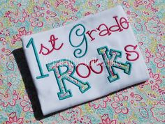 First Grade Rocks / 1st Grade Rocks - Applique shirt - Kindergarten graduation on Etsy, $28.00