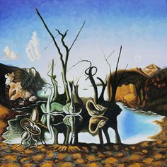 Swans Reflecting Elephants 1937 Oil Painting by Salvador Dali