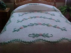 50's chenille bedspread with swag flowers size 86X106 by designer2, $129.00