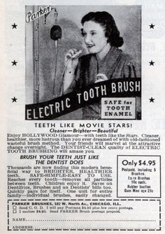 Electric toothbrushes were initially created for patients with limited motor skills. Can you guess what decade they became popular? (hint, hint - look at the image)  #ElectricToothbrush #History