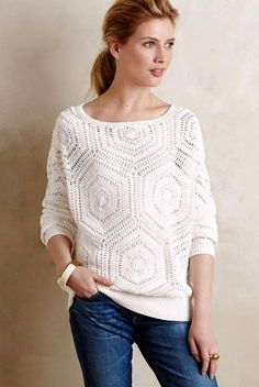 Crochet Blouse Patterns White crochet top pattern - PDF Pattern only - Cardigan Au Crochet, Crochet Cardigan, Crochet Shawl, Knit Crochet, Crochet Sweaters, Crochet Tops, Crochet Summer, Crochet Pullover Pattern, Hexagon Crochet