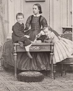 Archduchess Maria Theresa of Austria Este, later Queen of Bavaria (middle) with brothers, Archduke Friedrich and Archduchess Maria Cristina of Austria-Teschen (later Queen Regent of Spain). Early 1860s