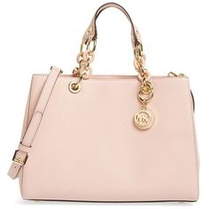 MICHAEL Michael Kors 'Cynthia' Saffiano Leather Satchel ($209) ❤ liked on Polyvore featuring bags, handbags, pastel pink, chain handle handbags, pink satchel handbags, saffiano leather satchel, structured purse and pink satchel