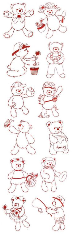 Fuzzy Teddy Bears Redwork embroidery design set available for instant download at www.designsbyjuju.com