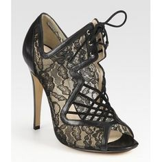 Nicholas Kirkwood Lace-Up Leather, Suede, Lace and Mesh Peep Toe Ankle Boots